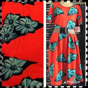 💐new Bright orange tropical floral retro Amelia 3X